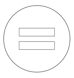 sign equally black icon in circle isolated vector image