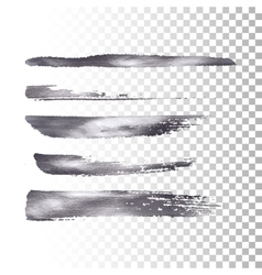 Silver metallic paint brush stroke set vector image