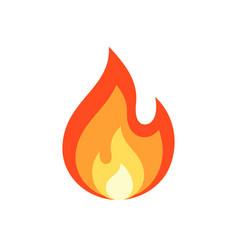 simple flame icon in flat style vector image