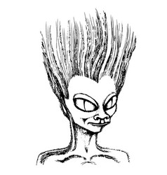 sketch head of an alien vector image
