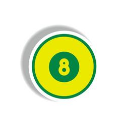 Stylish icon in paper sticker style billiard ball vector