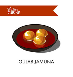 sweet gulab jamuna in black bowl isolated vector image