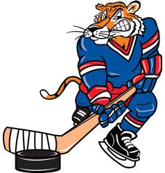 tiger sports logo mascot hockey vector image