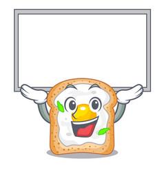 Up board cartoon eggs sandwich in for breakfast vector
