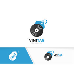 vinyl and tag logo combination record and vector image