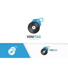 vinyl and tag logo combination record vector image