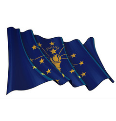 Waving flag state indiana vector