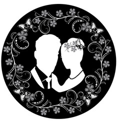 wedding silhouette with flourishes frame 3 vector image