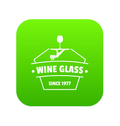 wine glass icon green vector image
