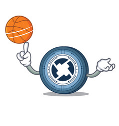 with basketball 0x coin character cartoon vector image