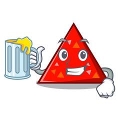With juice triangel mascot cartoon style vector