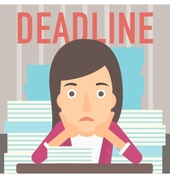 Woman having problem with deadline vector