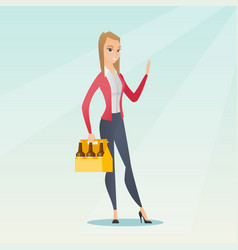 woman with pack of beer vector image