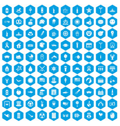 100 summer holidays icons set blue vector image vector image