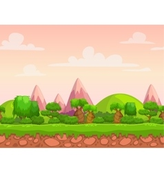 Cartoon seamless nature landscape vector image vector image