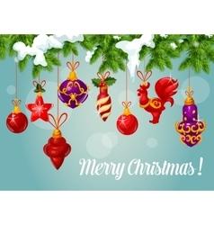 Christmas ball on pine branch greeting card vector image vector image