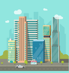 city buildings near road cityscape modern vector image
