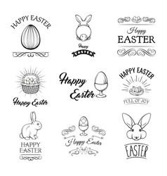 easter badges and labels design elements set vector image