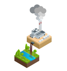 isometric pollution of the environment concept vector image vector image