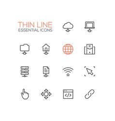 network data - modern single thin line vector image