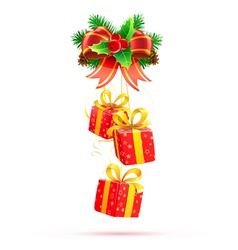 of christmas decorative composition with evergreen vector image