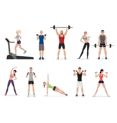Sport gym people set with dumbbells barbells and vector image vector image