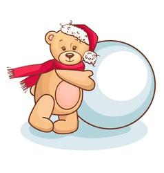 Teddy and snowball vector