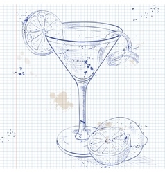 Cosmopolitan on a notebook page vector image