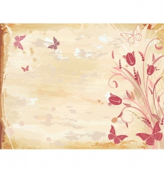 old paper with tulips vector image vector image
