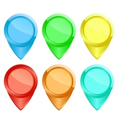 Set of colored glossy tags on the map vector image