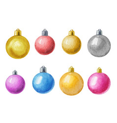 watercolor christmas balls isolated on vector image
