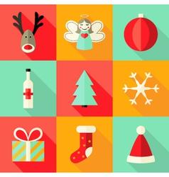 9 Christmas Flat Icons Set 4 vector image vector image