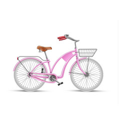 girl pink bicycle realistic 3d isolated vector image
