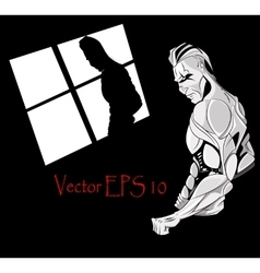 Man with muscles for gym vector image