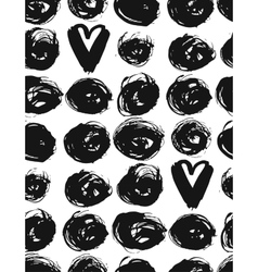 Seamless dot and heart patternHand painted vector image vector image