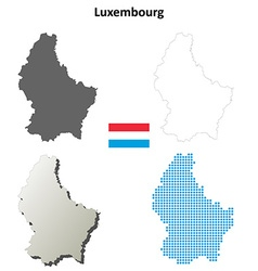 Luxembourg outline map set vector image vector image