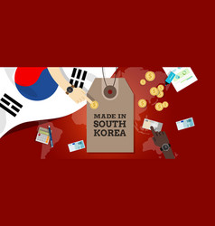 made in south korea stamp price tg flag world map vector image