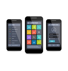 mobile ui design with login vector image vector image