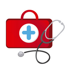 red suitcase health with stethoscope icon vector image vector image