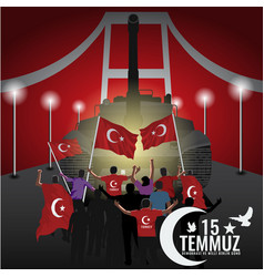 15 july day turkey translation title in vector