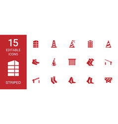 15 striped icons vector image