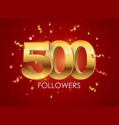 500 followers background template vector
