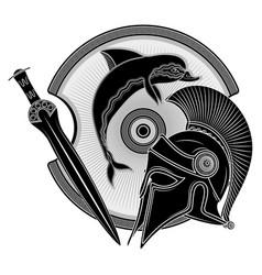 Ancient hellenic helmet greek shield vector
