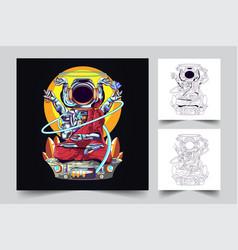 Astronaut buddha religion artwork vector
