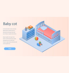 Baby cot concept background isometric style vector