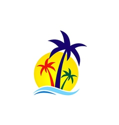 Beach palm tree travel logo vector