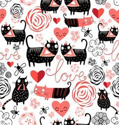 Beautiful seamless graphic pattern of funny cats vector