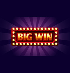 big win banner winner frame jackpot background vector image
