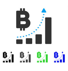 Bitcoin bar chart positive trend flat icon vector