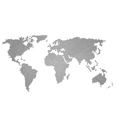 black halftone world map of small dots in radial vector image